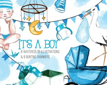 It's a boy / baby boy: 8 illustrations and clipart  and 8 bunting banners