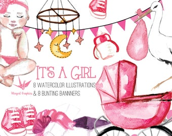 It's a girl / baby girl: 8 illustrations / clipart and 8 bunting banners