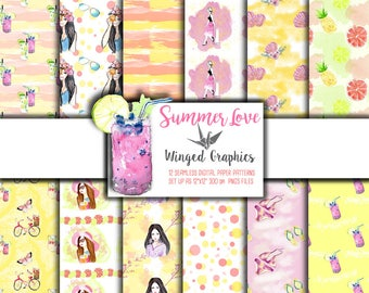 """Summer love: 12 seamless, Tileable , seamless digital paper /fabric/patterns (instant download) 9""""x9"""" 300 DPI files"""