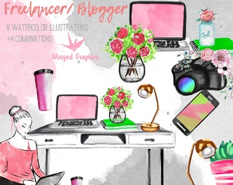 Freelancer / blogger clipart set (Freelanceer/ lifestyle / fashion blogger girl)