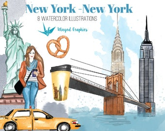 NEW York watercolor handpainted illustrations/ clipart set : 8 illustrations on transparent background