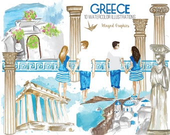 Greece watercolor handpainted illustrations/ clipart set : 10 illustrations on transparent background