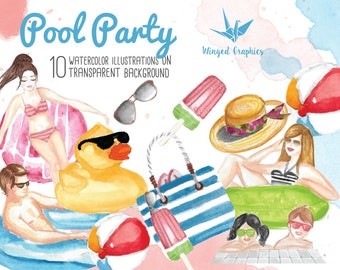 Pool party : digital  watercolor clipart  10 illustrations on transparent background