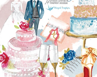 Wedding day: set of 14 beautiful bridal watercolor images on transparent background