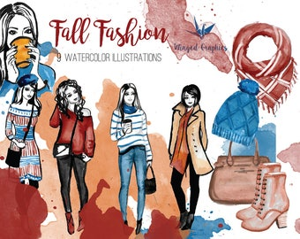 FAll Fashion watercolor Clip Art Set: 9 individual illustrations on transparent background