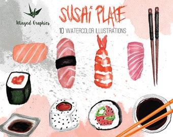 Sushi Time: Digital watercolor clipart
