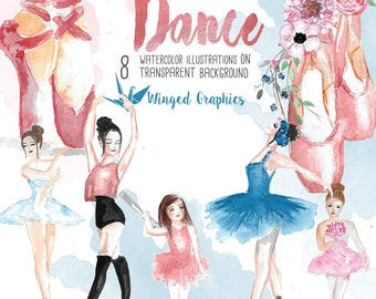 En pointe: Dace, ballet Watercolor clipart- 8 high resolution illustrations on transparent background