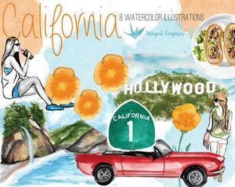 Travel Watercolor illustration/ Clipart set : California (Los Angeles)