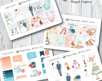 Wedding day: bridal Sticke set(4 pages)  for Erin Condren vertical spread planners or MAMBI happy planner (pick variation on checkout)