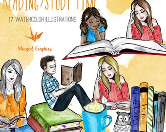 Reading /Study time: set of 17 handpainted digitalized watercolour illustrations/ clipart
