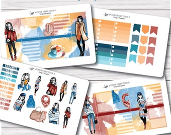 Cozy, cold weather fashion  planner stickers made to fit Erin Condren Vertical Spread l planners or MAMBI happy planners (pick below)