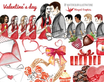 Valentine's day: digital watercolor Clipart / illustration (set of 22)