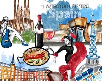 Spain : travel watercolour clipart (Madrid, Barcelona, Bilbao )