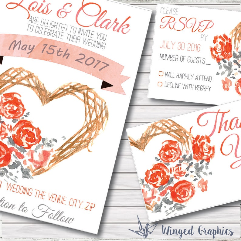 elegant  watercolor wedding invitation kit Hand painted unique wedding invitation with a matching Thank You card and RSVP card