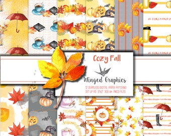 FAll/ Autumn watercolor digital paper/ patterns