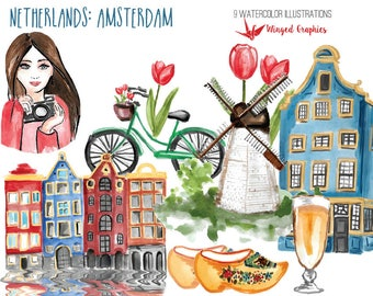 Netherlands Amsterdam: digital watercolor clipart. 9 hand painted illustrations on transparent background