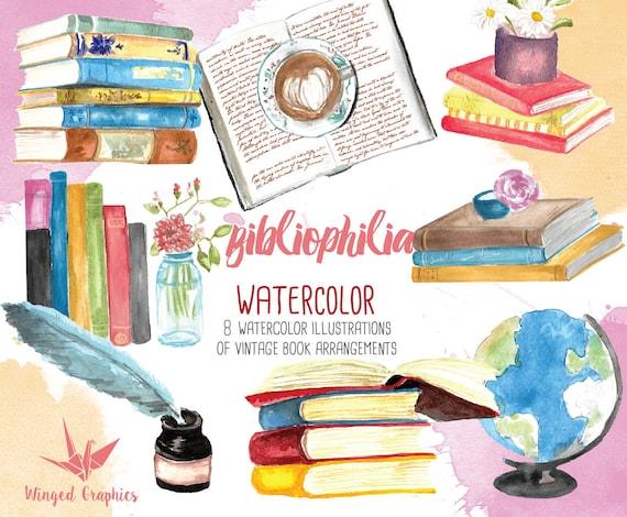 Bibliophile watercolor handpainted clip art: books reading | Etsy