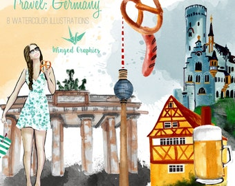 Germany Travel Watercolor clipart:  8 illustrations on transparent background