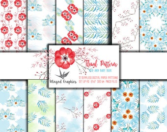 """Floral digital paper in red and babyblue: 12 seamless patterns 9""""x9"""" 300DPI"""