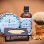 Olivewood shaving set with : Shaving Brush, Soaps & lotion from Le Père Lucien  MINT fragrance for M.RED edition