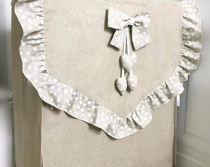 Washer cover with bow and hearts in waterproof fabric