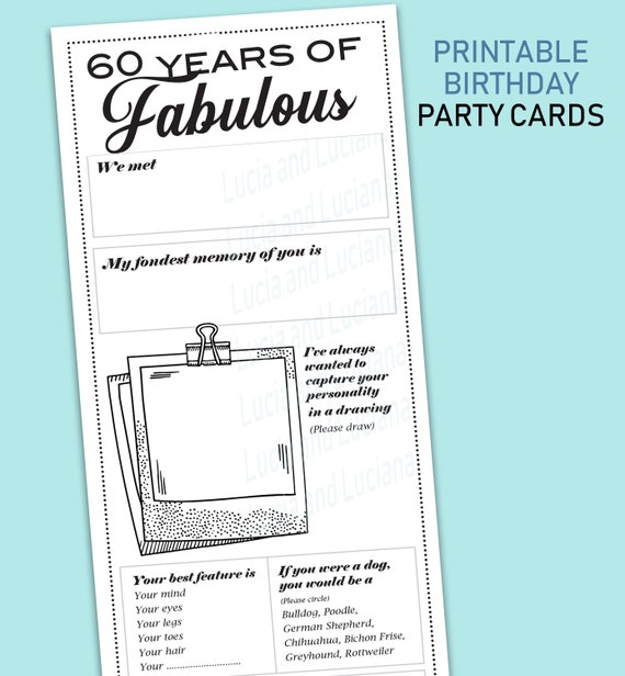 60th Birthday Party Games Ideas Decoration For Women Cards