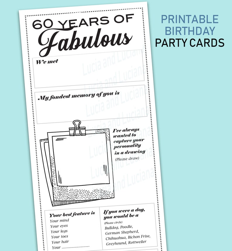 60th Birthday Party Games Ideas
