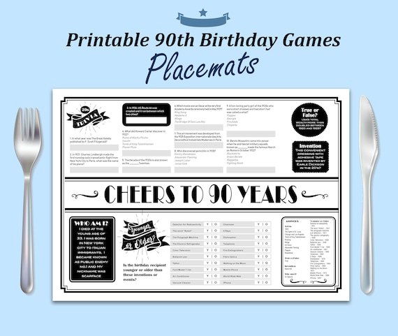 90th Birthday Decorations Printable Placemat Party Games