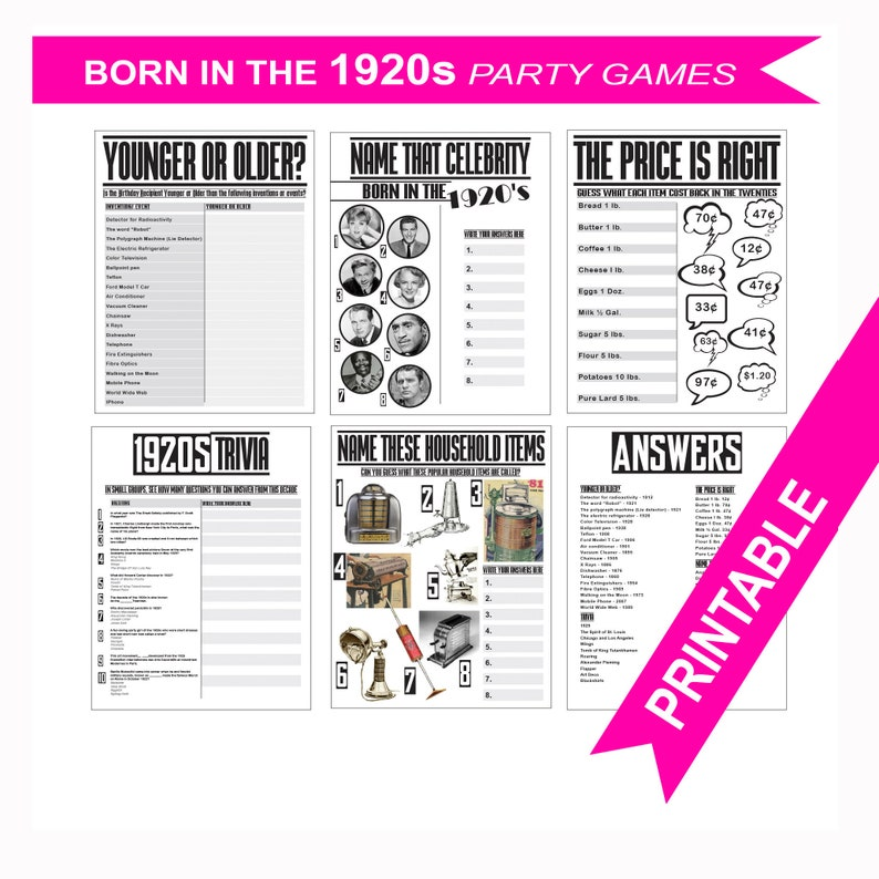 1929 Birthday Games Printable 90th Decorations