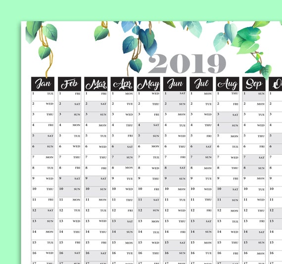Yearly Calendar Large Wall Calendar Printable Planner 2019 Etsy