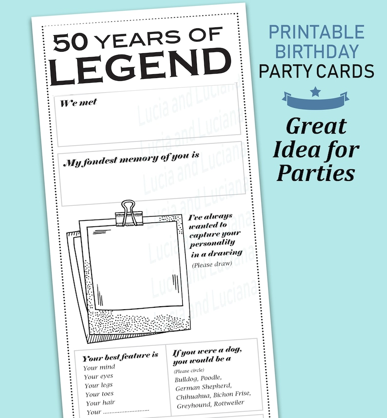 50th Birthday Card For Men Funny Party Games