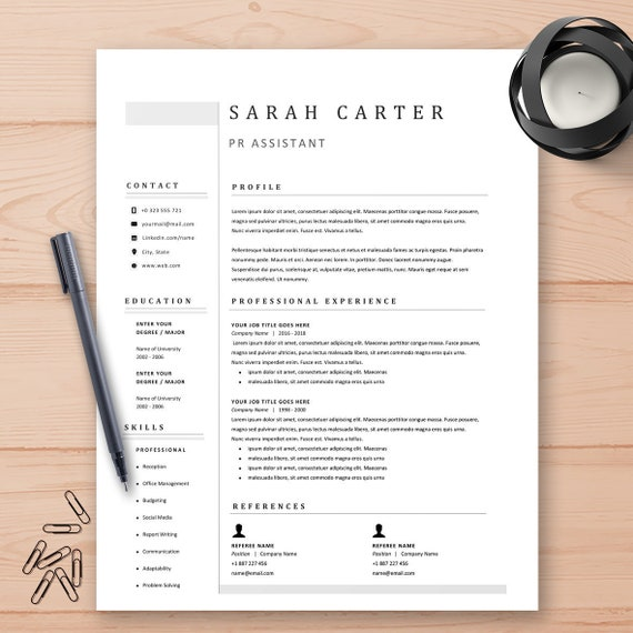 Cv Template Resume Template Instant Download Modern Resume