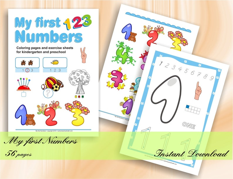 My first numbers  Coloring pages and exercise sheets for image 0