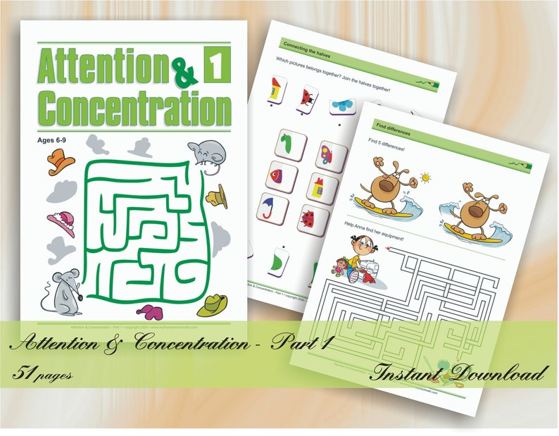 Attention & Concentration  Part 1 age 6-9  53 printable image 0