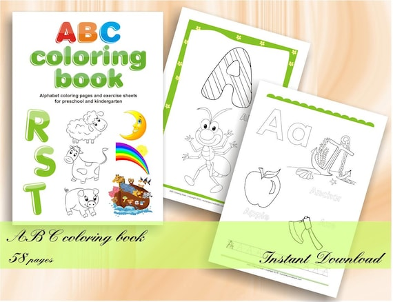 ABC coloring book - Alphabet coloring pages for preschool and kindergarten  - Download Digital Printable Workbook | 58 exercise PDF sheets