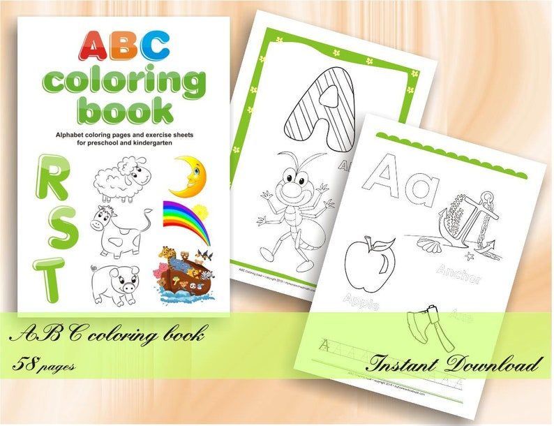 ABC coloring book Alphabet coloring pages for preschool and | Etsy