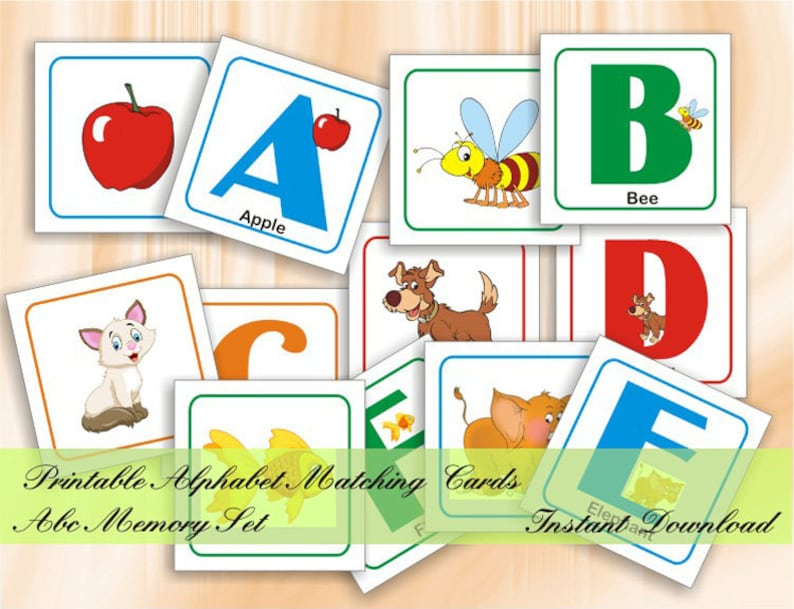 graphic about Alphabet Matching Game Printable called Alphabet Matching Playing cards ABC Memory Match Printable Preschool Flashcards Early Understanding