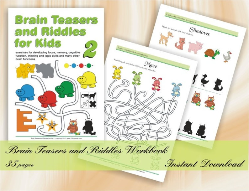 image about Printable Riddles for Kids known as Intellect Teasers and Riddles for children (age 5-8) Printable Worksheets with Puzzles, Logic game titles, Mazes, Variances, Repeating layouts