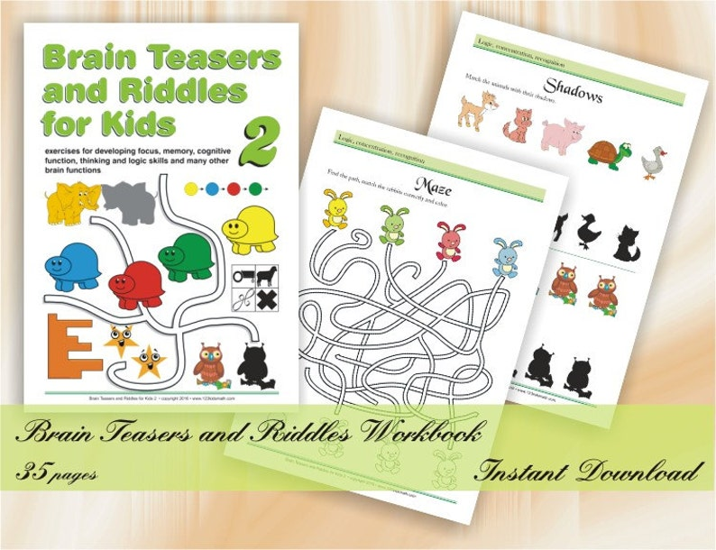 image regarding Riddles for Kids Printable titled Intellect Teasers and Riddles for little ones (age 5-8) Printable Worksheets with Puzzles, Logic online games, Mazes, Dissimilarities, Repeating habits
