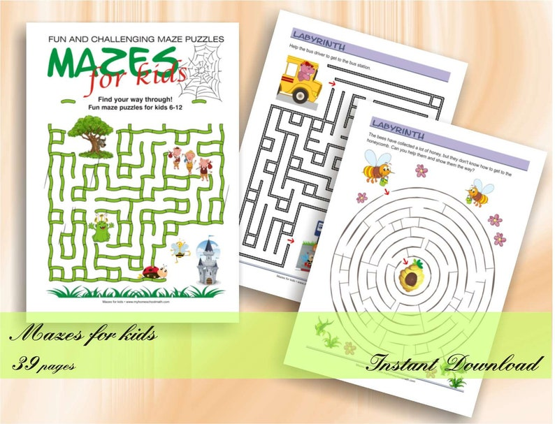 Fun and challenging Mazes for kids  40 printable worksheets image 0