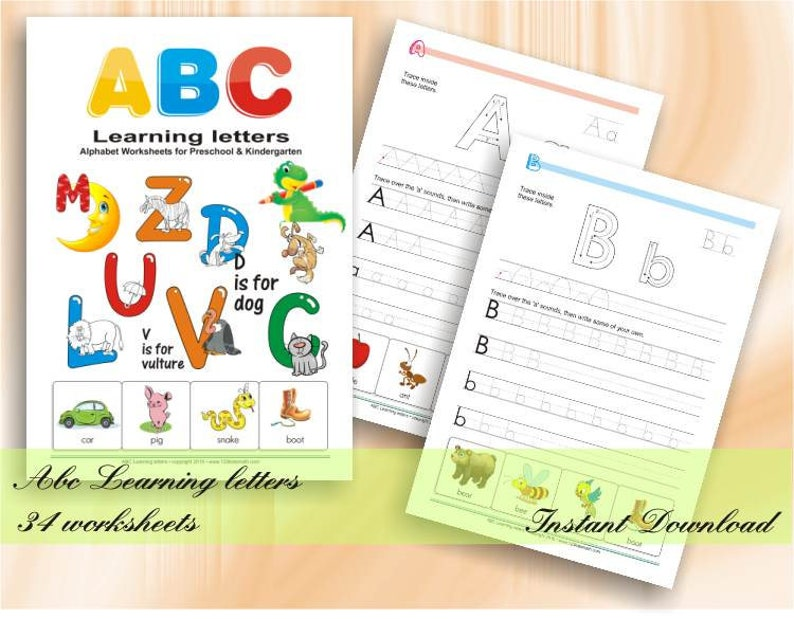 ABC Learning Letters Workbook  34 Alphabet Worksheets for image 0