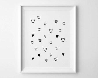 Minimalist wall art, whimsical print, nursery heart decor, minimalist print, hearts wall art, kids room decor, cute wall print, baby gifts