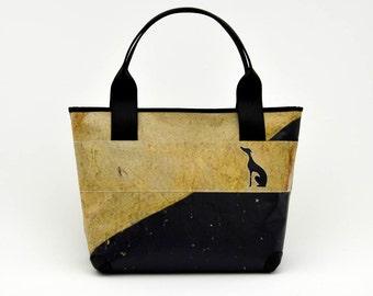 37516ae5e0 Borsa vegan Big Bag // borsa donna da spalla // handmade e cruelty free //  banner museo di Brera // mélange // levriero intagliato