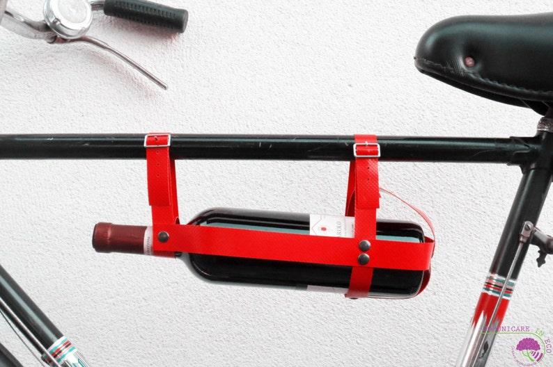 Bike bottle rack// WineBike // truck tarpaulins // eco design Red