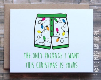 funny christmas card funny christmas card for boyfriend funny christmas card for husband the only package i want this christmas is yours