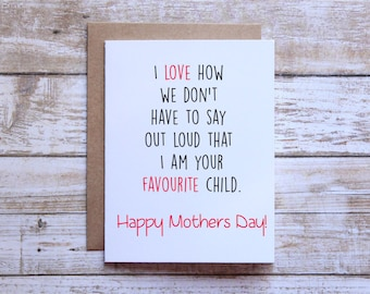 Funny mothers day card naughty mothers day card happy mothers day favourite child funny mothers day card mothers day card from son mothers day card from daughter m4hsunfo