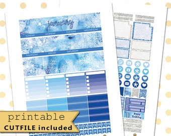 JANUARY Monthly View//Printable Planner Stickers//Planner Stickers//Monthly Sticker Kit//Winter Stickers//New Year Sticker Set