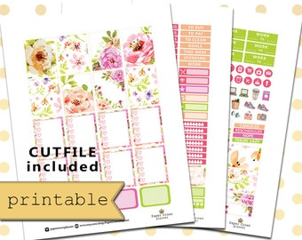 PRINTABLE PLANNER STICKERS/Planner Stickers for use with Erin Condren Planner/Bouquet Planner Sticker Weekly Kit/Instant Download/Silhouette