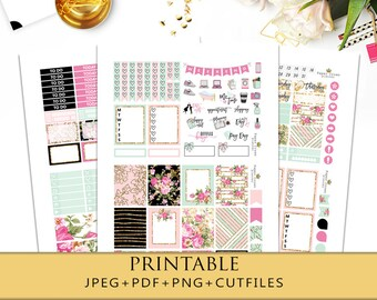 GILDED PETALS Printable Planner Stickers/Weekly Planner Sticker Kit for Erin Condren Planner/Travelers Notebook/Functional Planner Stickers
