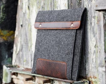 """Dark Felt MacBook Air Case 2020 with extra pocket and button closure. Leather Cover for MacBook 13"""" PRO with touch bar case"""